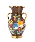 Kitsch vase. Retro kitsch vase with gold details and floral pattern. Isolated on white Stock Photo