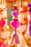 Kitschy neon hearts. Kitschy colorful heart ornaments as a symbol for love Royalty Free Stock Images