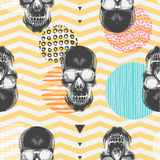 Kitschy seamless pattern with sugar skulls, multicolored circles of different textures, orange and white zigzag lines on Stock Images