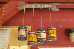 Kitschy wind chimes made of tin cans Royalty Free Stock Photography