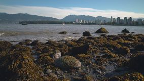 Kitsilano Low Tide Skyline, Vancouver 4K UHD. Kitsilano Beach on English Bay in the morning. In the background are the North Shore Mountains. Vancouver, British stock footage