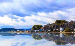 Kitsuki, prefettura di Oita, Giappone 12 gennaio: Il riflesso di Kitsuki a fotografie stock libere da diritti