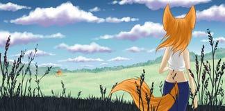 Kitsune на одичалой жизни Стоковая Фотография
