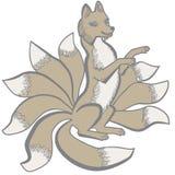 Kitsune nine tailed fox. Vector illustration of Kitsune nine tailed fox colorful Stock Photo