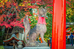 Kitsune sculpture at Fushimi Inari-taisha shrine Royalty Free Stock Images