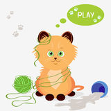 Kitten. Illustration of a funny kitten playing with threads Royalty Free Stock Image