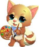 Kitten artist Royalty Free Stock Photography