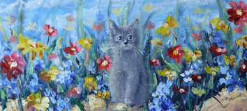 Kitten on a background field of summer flowers. Original oil painting kitten on a background field of summer flowers on canvas. Impasto artwork. Impressionism Royalty Free Stock Photos