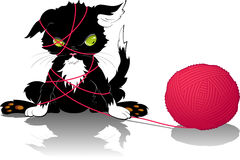 Kitten with a ball of thread. EPS 8 Stock Photo