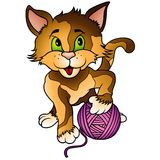 Kitten and Ball of Wool. Colored cartoon illustration, vector Royalty Free Stock Photos