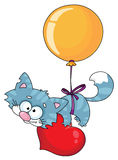 Kitten and a balloon. Illustration of a kitten and a balloon Stock Image