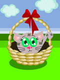 Kitten. A kitten in a basket royalty free illustration