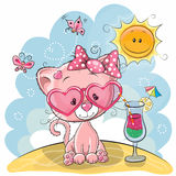 Kitten on the beach. Greeting card Cute Kitten in sun glasses on the beach Royalty Free Stock Images