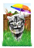 A kitten and a bee. Vector illustration. A small kitten sat a bee on the nose. ATTENTION! Configure Corel Draw x3 for additional file: tools / color management