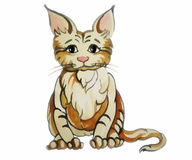 Kitten with big ears red  drawing on a white background Royalty Free Stock Images
