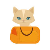 Kitten blue eyes yellow pet carrier traveling. Illustration eps 10 Royalty Free Stock Photography