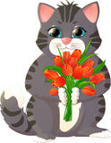Kitten with a bouquet of flowers Stock Photos