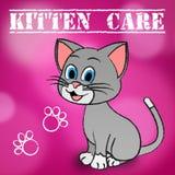 Kitten Care Means Looking After och älskakatter stock illustrationer