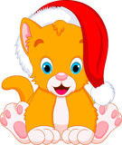 Kitten cartoon. Cute kitten with santa claus hat Stock Images