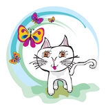 Kitten children draw. Ing white cat Stock Images