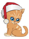 Kitten in christmas. A kitten with santa's cap Stock Illustration