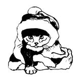 Kitten in a Christmas costume. The graphic image of the cat in the Santa hat. Vector illustration on a white background. Figure handle by hand, black lines Royalty Free Stock Image