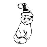 Kitten in a Christmas costume. The graphic image of the cat in the Santa hat. Vector illustration on a white background. Figure handle by hand, black lines Royalty Free Stock Photography
