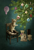 Kitten and Christmas tree with toys Royalty Free Stock Photography