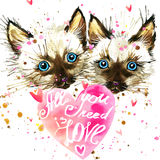 Kitten. Cyte kitten and Valentines day heart. Watercollor kitten. Cyte kitten and Valentines day heart. All you need is love text/ Valentine card. Love poster Royalty Free Stock Image