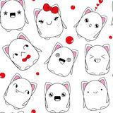 Kitten doodle monster pattern_seamless Royalty Free Stock Photos