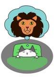 Kitten dreaming big. Kitten dreaming of strong myself in sleeping royalty free illustration