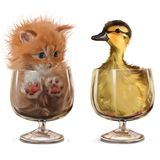 Kitten and Duckling sitting in glasses. Watercolor painting stock illustration