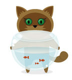 Kitten with a fish. Cute kitten with a fish aquarium Royalty Free Stock Photography