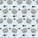 Kitten, fish and hearts. Adorable seamless pattern with light grey cat`s round head with big round green eyes, black nose and sharp ears, grey hearts and grey Stock Image