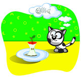 Kitten and food. Kitten eating. Before him leftover bit an apple on plate. Perplexity. Cat dream about eating fish bones. Cartoon Vector scene. Humor Stock Images