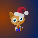 Kitten with a gift. Red-headed kitten with a gift. It can be used as an icon or sticker Royalty Free Stock Images