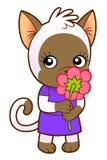 Kitten girl with flower Stock Photo
