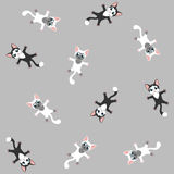Kitten grey seamless pattern Stock Photos
