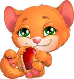 Kitten and heart. Beautiful red kitten with a heart in pads vector illustration