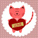 Kitten with heart card Royalty Free Stock Photos