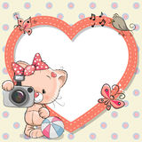 Kitten with heart frame. Cute cartoon Kitten with a camera and a heart frame stock illustration