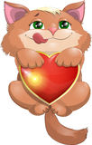 Kitten and heart. Kitten hanging on the emblem of the heart royalty free illustration