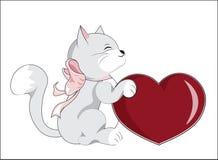Kitten with heart Stock Photos