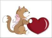 Kitten with heart Stock Image