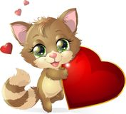 Kitten and heart Royalty Free Stock Image