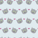 Kitten and hearts Stock Images