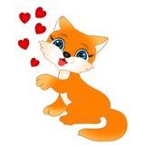 Kitten with hearts. Stock Photo