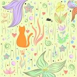Kitten hunt in a flower field background picture.  Stock Image