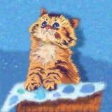 Kitten Illustration engraçada Fotos de Stock Royalty Free