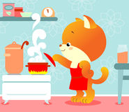Kitten in the kitchen stock illustration